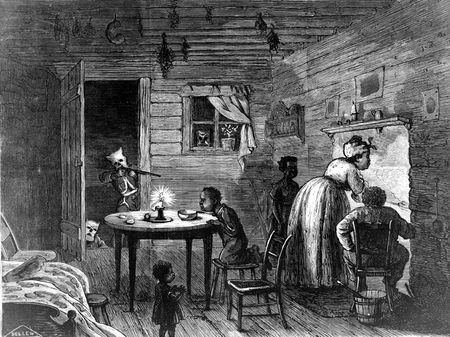 Harper's Weekly illustration showing an African-American family threatened by a Ku Klux Klan member aiming a rifle in a doorway; 1872